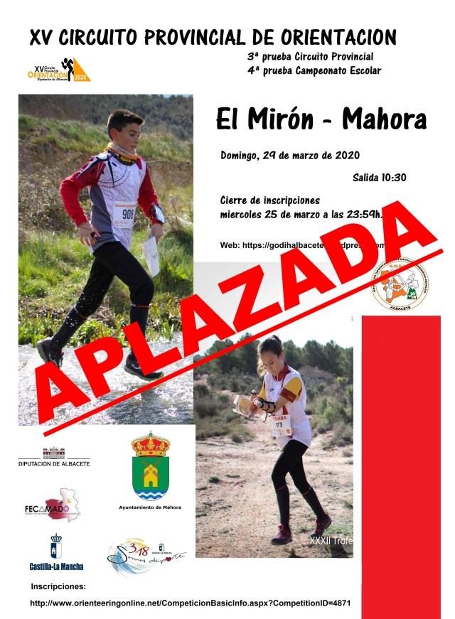 CARTEL -EL MIRON- MARZO 2020 APLAZADA